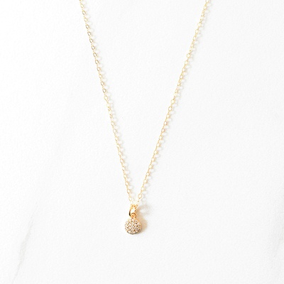 MINI PAVE CIRCLE NECKLACE - 14KT GOLD FILLED