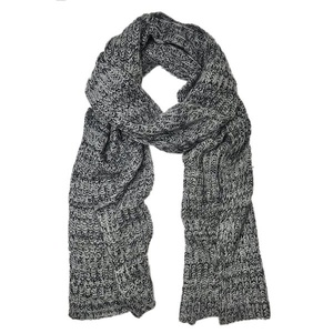 Steel Gray Knit Cashmere Scarf