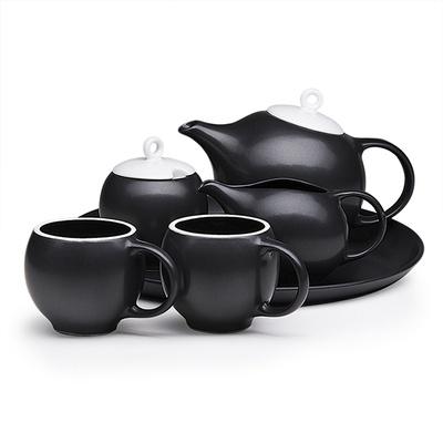 Full Eva teaset - 6 pieces in black matte stoneware