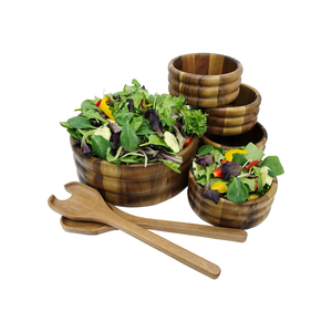 Large Salad Bowl with Servers and 4 Individual Bowls
