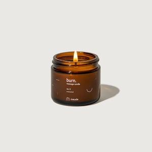 burn. 2 oz massage candle no. 0. unscented.
