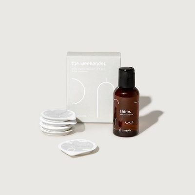 the weekender kit. rise and organic shine travel pack