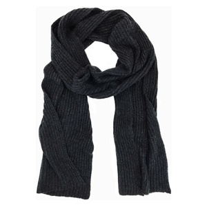 Charcoal Knit Cashmere Scarf