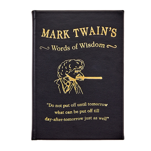 Mark Twain's Words of Wisdom | Black Traditional Leather Bound Book