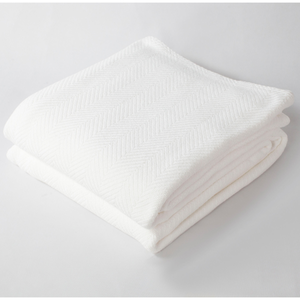 Herringbone Bed Blanket Bright White