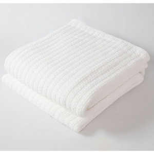 Cable Knit Blanket Bright White