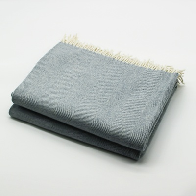 Merino Wool Collection Throw in Light Blue